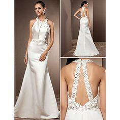 Trumpet/Mermaid Jewel Sweep/Brush Train Satin Wedding Dress – USD $ 109.99