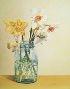 Jacqueline Gnott » Still Life with Ball Jar & Daffodils