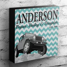 Custom Jeep Family Canvas  Personalized Last Name by Anarchy307