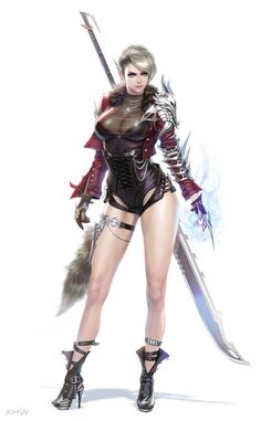 Female sexy warrior with giant blade