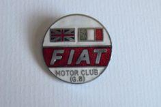 FIAT MOTOR CLUB GREAT BRITAIN GB LAPEL PIN BADGE CAR CLUB GLASS ENAMEL
