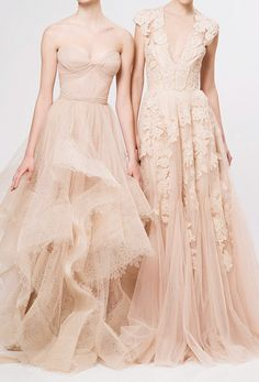 Delicate and lovely blush pink gowns the one on the right for a wedding :)