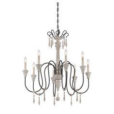 Bring an elegant touch to your dining room or foyer ensemble with this eye-catching chandelier, featuring candle-inspired lights and lovely carved details.