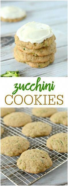 Zucchini Cookies with Cream Cheese Frosting - soft, fluffy, and delicious. These cookies are filled with zucchini and are topped with an amazing frosting! Zucchini Cookie Recipes, Zuchinni Recipes, Zucchini Desserts, Zucchini Cheese, Cream Cheese Cookies, Cookies Et Biscuits, Cookie Desserts, Dessert Recipes, Cookie Recipes