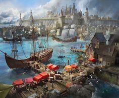 Fantasy City, New Fantasy, Fantasy Places, Fantasy Map, Fantasy Warrior, Medieval Fantasy, Fantasy Artwork, Fantasy World, Fantasy Art Landscapes