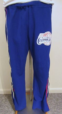 Vintage Super Rare 70s LOS ANGELES CLIPPERS Nylon Sand Knit Large Basketball Snap Warm Up Pants