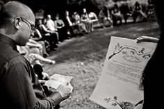 I love this. Quaker-eque ceremony, but with communion. The vows are read and written on the certificate which everyone signs as witness, the parents give a blessing... beautiful