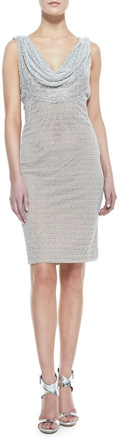 Carmen Marc Valvo Sleeveless Cowl & Beaded Neck Cocktail Dress, Silver on shopstyle.com