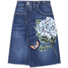 Dolce & Gabbana Embroidered Denim Skirt (28.170 CZK) ❤ liked on Polyvore featuring skirts, bottoms, suknje, юбки, blue, dolce gabbana skirt, denim skirt, knee length denim skirt, embroidered denim skirts and blue skirt