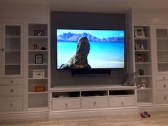 Built-In entertainment center hacked from the hemnes ikea tv wall unit, bui Living Room Entertainment Center, Entertainment Center Decor, Home Entertainment Centers, Entertainment Products, Hemnes, Ikea Hacks, Ikea Tv Wall Unit, Ikea Units, Built In Tv Wall Unit