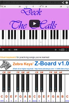 Teach kids how to play Easy Piano songs, Deck The Halls for this Christmas, free tutorial comes with virtual piano provided