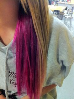 Long hair with pink underneath ! Doing this for spring break....possibly pink purple or blue... @Amelia Huston