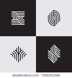 Modern Line Logos Cool Geometric Forms Stock Vector (Royalty Free) 556231366 Logo D'art, Logo Abstrait, Drawing Simple, Logos Online, Future Logo, Inspiration Logo Design, Wine Logo, Logo Shapes, Vector Shapes