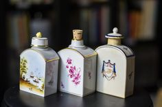 Have you discovered porcelain tea caddies? Functional and beautiful!  #teacaddies #loosetea #teatime #afternoontea #caddies Small Fishing Boats, Boston Tea, Tea Blog, Reunification, Small Letters, Wooden Chest, Tea Caddy, Letter B, My Tea