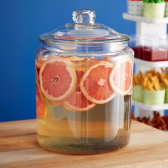 Our Glass Canisters with Glass Lids are a fun solution to hold those Super Bowl beverages!
