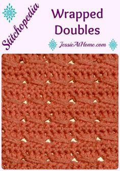 Wrapped Doubles Stitch Pattern   Learn to make the Wrapped Doubles Stitch with this tutorial. This video will show you how to make the Wrapped Doubles Stitch.    JessieAtHome Crochet Stitches Patterns, Knitting Stitches, Stitch Patterns, Knitting Patterns, Crochet Designs, Knitting Needles, Free Crochet, Knit Crochet, Dishcloth Crochet