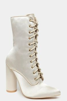 Beige Silver Pointed Toe Lace Up Satin Boots High Block Heels UK 3 4 5 6 7 Cream #Unbranded #Booties #ClubGoingOutDressPartySpecialOccasion Block Heels, Lace Up, Toe, Satin, Booty, Beige, Cream, Silver, Ebay