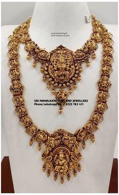 Antique Jewellery Designs, Gold Earrings Designs, Necklace Designs, Gold Haram Designs, Gold Temple Jewellery, India Jewelry, Gold Jewelry, Gold Bridal Jewellery, Bridal Jewellery Collections