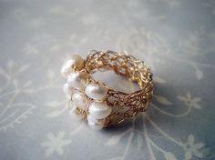 Anillo oro alambre lleno de ganchillo ganchillo anillo de