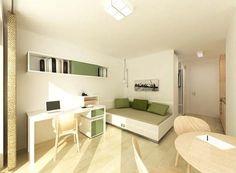 Mit funktionellen Raumkonzepten gestaltet und mit hochwertigen, belastbaren Materialien voll möbliert ausgestattet, bieten diese Eigentumswohnungen den Bewohnern ein Höchstmaß an Komfort und Privatsphäre. Projekt MAIN ATRIUM der I-live Frakfurt GmbH & Co. KG.