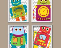 ROBOT Wall Art Boy Robot Boy Bedroom Pictures CANVAS by TRMdesign