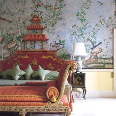 Brocket Hall in England - Chinoiserie, wallpaper, silk pillows & bolsters