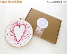 25% OFF, Love Heart Embroidery Kit, French Knots Hand Embroidery Tutorial, DIY Cotton Anniversary Gift, DIY Christmas Gift, Needlework Kit,