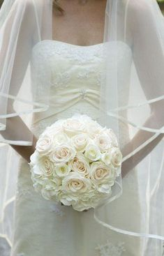 White and pale peach rose orb bouquet Floral Wedding, Wedding Flowers, Wedding Dresses, October Bouquet, Flower Room, Seasonal Flowers, Tie The Knots, Special Day, Wedding Inspiration