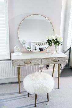 Heavenly Dressing Table Gold Framed Round Mirror From Habitat . Heavenly Dressing Table Gold Framed Round Mirror From Habitat. Dressing Table Decor, Bedroom Dressing Table, Dressing Room Design, Dressing Tables, Dressing Table Vanity, Vanity Desk, Dressing Table Modern, Closet Vanity, Home Decor Bedroom