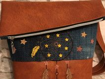 FoldOver Tasche, Jeans Upcycling, Traumfänger