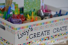 "DIY ""Create Crate"" for the kids' art supplies!"