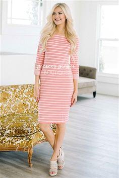 Pink Coral Stripe Modest Dress Bridesmaids Dress, Church Dresses, dresses for church, modest bridesmaids dresses, trendy modest dresses, modest womens clothing, affordable boutique dresses, cute modest dresses, mikarose, trendy modest boutique