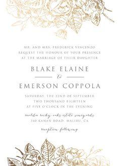 """Gilded Wildflowers"" - Elegant, Floral & Botanical Foil-pressed Wedding Invitations in Gold by Smudge Design."