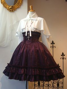 Atelier Boz lolita above all. Wine red pinstripe high waist skirt with white capelet.
