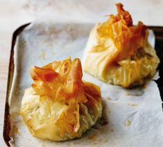 Chicken, mozzarella & pesto filo parcels