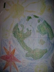 "Waldorf ~ grade ~ Local Geography ~ main lesson book ~ ""In the past, when one was lost, all he had to do was look up at the heavens for guidance. Sun, moon and stars made excellent points of reference. Cultural Studies, Social Studies, Form Drawing, Science Worksheets, Local History, Pictures To Draw, Fourth Grade, To My Daughter, Sun Moon"