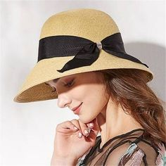 Summer wide brim beach hat straw sun hats for women with large bow travel  wear 039c60cbeae1