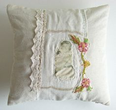 Hand Stitched Appliqued Cushion with Girl and Cat by AboutThePlace, $90.00
