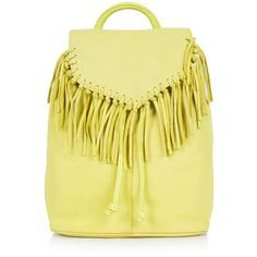 TOPSHOP Suede Fringe Backpack (2 220 UAH) ❤ liked on Polyvore featuring bags, backpacks, backpack, purses, yellow, chartreuse, leather fringe backpack, fringe backpack, fringe bag and mini leather backpack