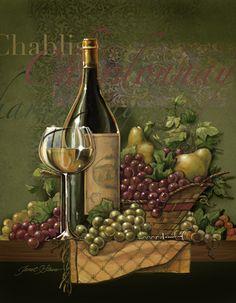 Wine art, Italian wine art, wine paintings by noted American artist Janet Stever. Decoupage Vintage, Decoupage Paper, Wine Painting, Painting Bottles, Fine Art Prints, Framed Prints, Wine Photography, Wine Decor, Wine Art