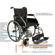 CARROZZINA SUPER AUTOSPINTA DOPPIA CROCIERA - 195,00 € - Codice  CAR-PSD - Prodotto  Nuovo - Telaio pieghevole di acciaio verniciato in colore grigio - Stabilizzatori di seduta - Pedane regolabili in altezza, ribaltabili ed estraibili - Misure di seduta disponibili: cm. 38-41-43-46-50 - Tasca porta-oggetti posteriore - Peso kg. 19,5 circa - Peso massimo sopportato: kg. 120