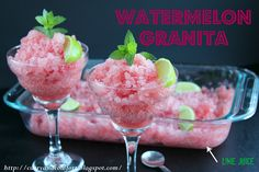 Curry and Comfort: Watermelon and Lime Granita Watermelon Granita, Spring Treats, Delicious Recipes, Yummy Food, Non Alcoholic Drinks, Spice Things Up, A Food, Curry, Frozen