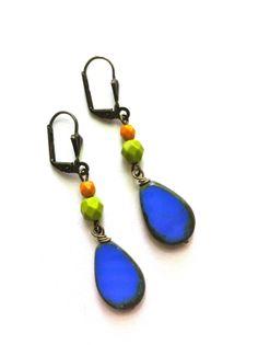 cobalt blue earrings, czech glass earrings, blue green and brown earrings, gift under 20, modern jewelry