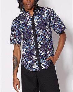 RDHOPE-Men Printed Western Shirt Regular Fit Hawaii Short Sleeve T-Shirts