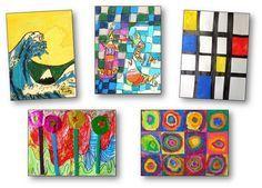 Arts visuels, productions d'élèves et reproduction d'œuvres à la manière de grands artistes tel que Picasso, Monet, Matisse, Kandinsky, Van Gogh, Gauguin, Kandinsky, Magritte...