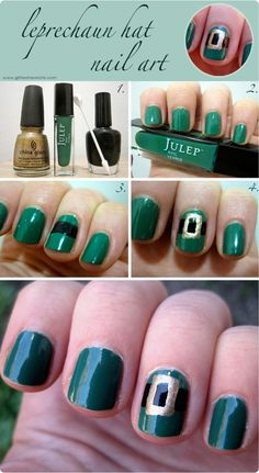 st. patrick's day nail art. This will be on my 10 year olds' nails next March. Too cute!