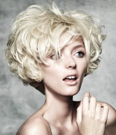 A short blonde curly coloured messy updo hairstyle by seanhanna