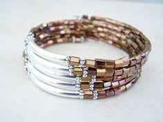 Bronze and Copper, Memory Wire Bracelet, Beaded Cuff Bracelet, Coil Bracelet, by Feralspassage