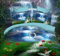 3D Animals Landscape 4pcs Bedding - Couch Slipcovers