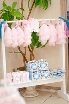 Tutus for the guests at a Shabby Chic Birthday Party!  See more party ideas at CatchMyParty.com!